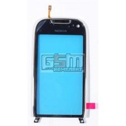 Тачскрин, сенсор для Nokia C7-00, с рамкой, оригинал, серебристый, (0089C76)