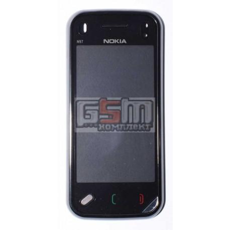 Тачскрин для Nokia N97, черный, с передней панелью