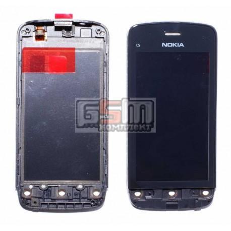 Тачскрин для Nokia C5-03, C5-06, черный, с передней панелью