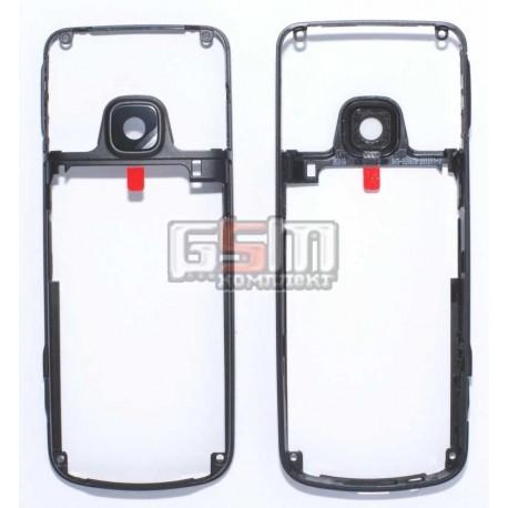 Рамка корпуса с защитным стеклом камеры для Nokia 6700c, оригинал, черный, (0253041)