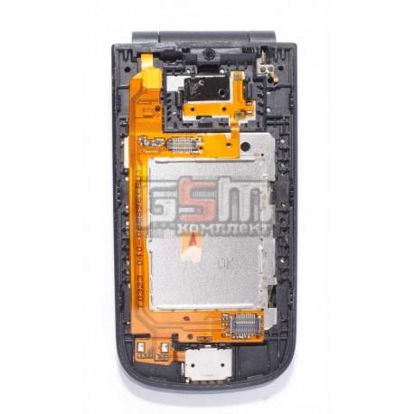 Средняя часть корпуса для Nokia 2720f, черный, полная, верхний + нижний флип, с шлейфом, с повортным механизмом