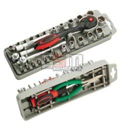 Pro'sKit SD-2308M Набор насадок-отверток и торцевых головок с трещоткой и длинногубцами