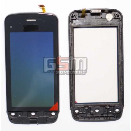 Тачскрин для Nokia C5-03, C5-06, черный, копия, с передней панелью