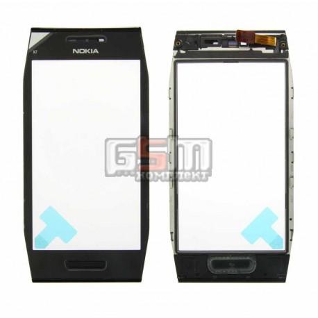 Тачскрин для Nokia X7-00, черный, с рамкой