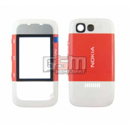 Корпус для Nokia 5300, красный, копия ААА, передняя и задняя панель