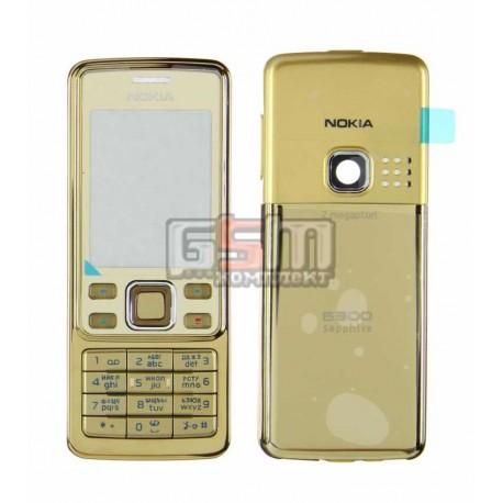 Корпус для Nokia 6300, золотистый, копия ААА, с клавиатурой