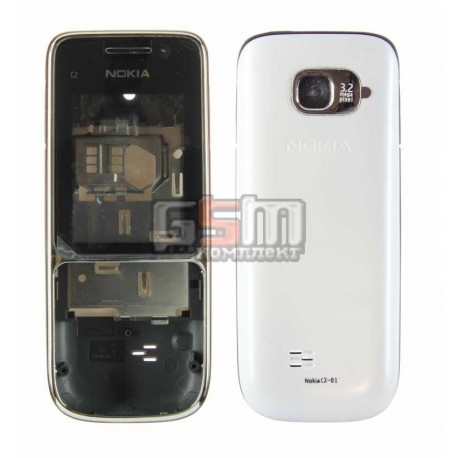 Корпус для Nokia C2-01, серебристый, копия ААА