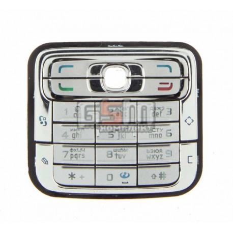 Клавиатура для Nokia N73, серебристая, русская