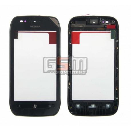 Тачскрин для Nokia 710 Lumia, черный, с передней панелью