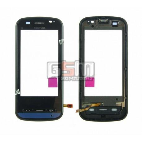Тачскрин для Nokia C6-00, черный, с передней панелью