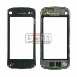 Тачскрин для Nokia N97, черный, копия, с передней панелью