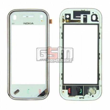 Тачскрин для Nokia N97 Mini, белый, copy, с передней панелью