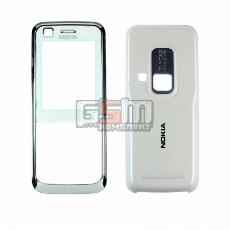 Корпус для Nokia 6120c, 6121c, белый, копия ААА, передняя и задняя панель
