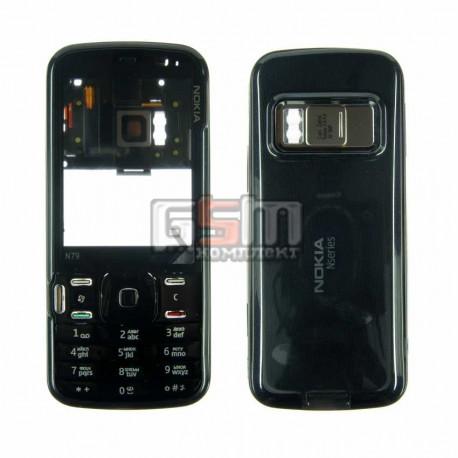 Корпус для Nokia N79, копия AAA, черный, с клавиатурой