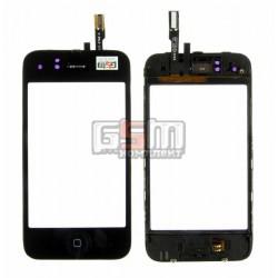 Тачскрин для Apple iPhone 3GS, черный, с рамкой, с кнопкой HOME