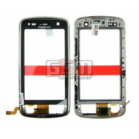 Тачскрин для Nokia C6-01, серебристый, с передней панелью