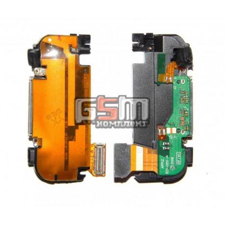Шлейф для Apple iPhone 3G, черный, коннектора зарядки, антенны, с компонентами, полный комплект, со звонком