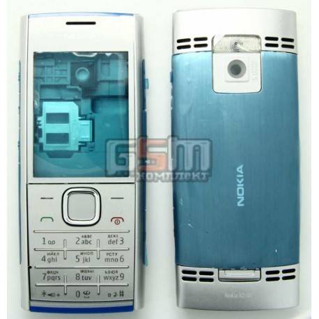 Корпус для Nokia X2-00, серебристый, копия ААА, с клавиатурой