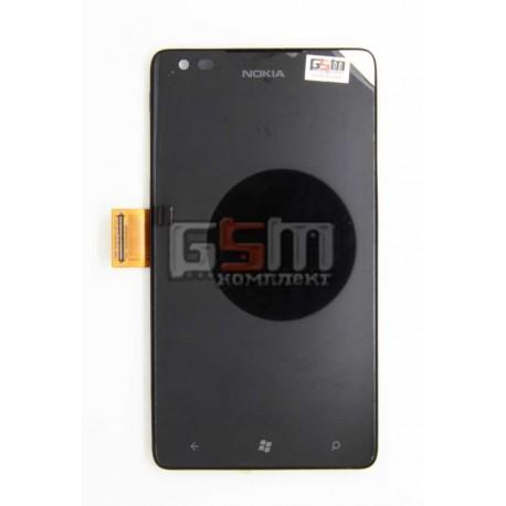 Дисплей для Nokia 900 Lumia, черный, с сенсорным экраном (дисплейный модуль), с рамкой