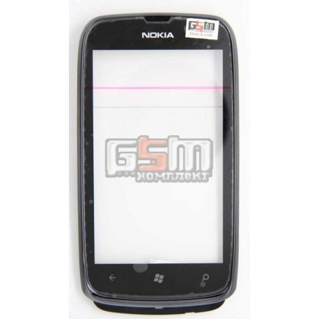 Тачскрин для Nokia 610 Lumia, с передней панелью, черный