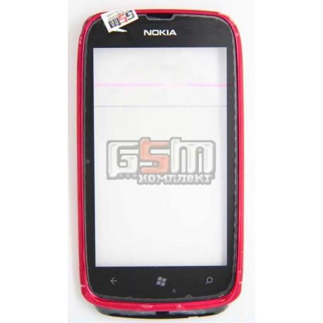 Тачскрин для Nokia 610 Lumia, с передней панелью, красный