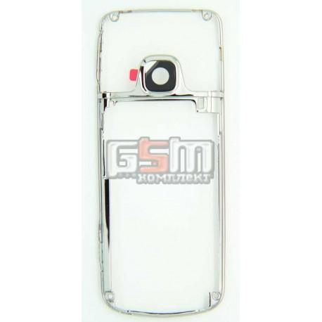 Рамка корпуса с защитным стеклом камеры для Nokia 6700c, серебристая