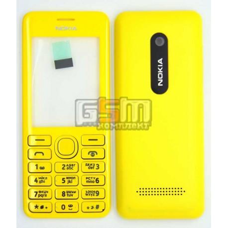 Корпус для Nokia 206 Asha, желтый, копия ААА, с клавиатурой