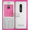Корпус для Nokia 206 Asha, белый, копия ААА, с клавиатурой