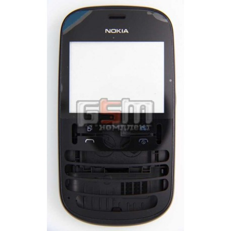 Корпус для Nokia 200 Asha, черный, копия ААА