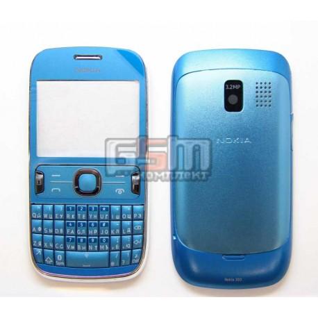 Корпус для Nokia 302 Asha, голубой, копия ААА, с клавиатурой