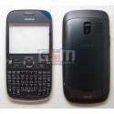 Корпус для Nokia 302 Asha, серый, копия ААА, с клавиатурой