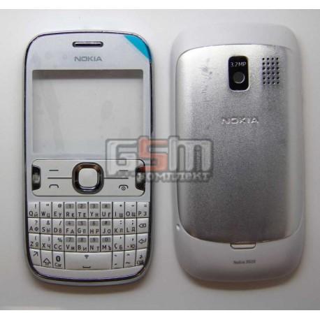 Корпус для Nokia 302 Asha, белый, копия ААА, с клавиатурой