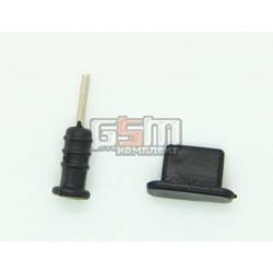 Заглушки защиты коннектора зарядки и коннектора наушников для iPhone 5, черные