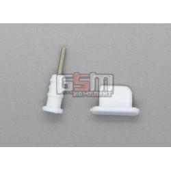 Заглушки защиты коннектора зарядки и коннектора наушников для iPhone 5, белые