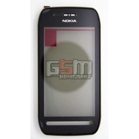 Тачскрин для Nokia 603, черный, с передней панелью, б/у, сенсор новый, рамка имеет незначительные потертости