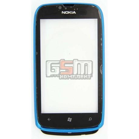 Тачскрин, сенсор, сеносрный Дисплей для Nokia 610, с передней панелью, синий