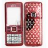 Корпус для Nokia 6300, красный, копия ААА, с клавиатурой, с орнаментом