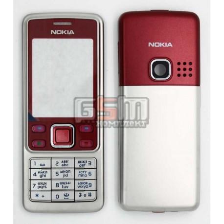Корпус для Nokia 6300, красный, копия ААА, с клавиатурой