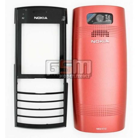 Корпус для Nokia X2-02, красный, high-copy