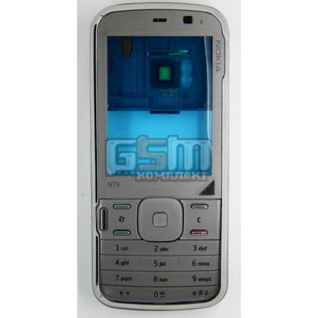 Корпус для Nokia N79, копия AAA, серый, с клавиатурой