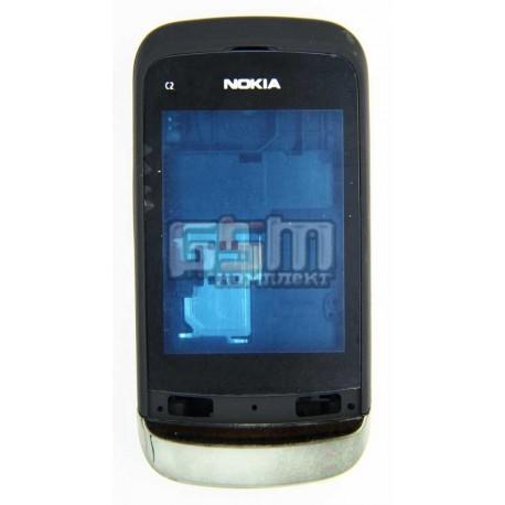 Корпус для Nokia C2-02, черный, high-copy