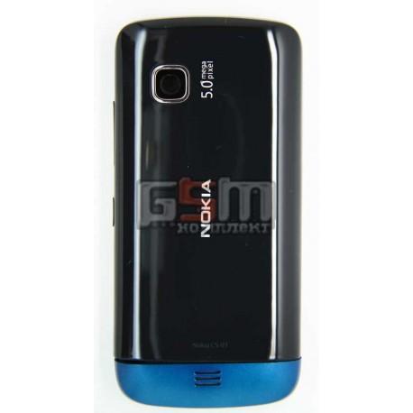 Корпус для Nokia C5-03, C5-06, черный, копия ААА, с синей накладкой