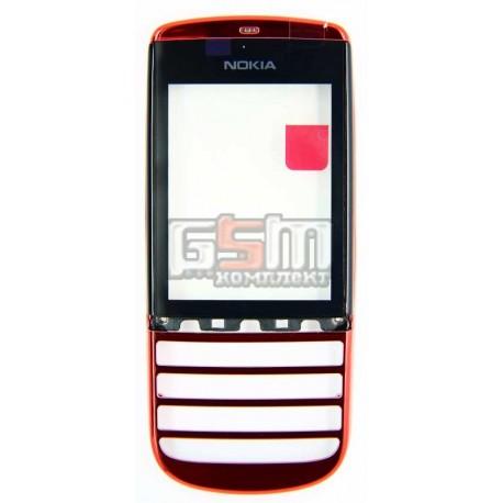 Тачскрин для Nokia 300 Asha, красный, с передней панелью