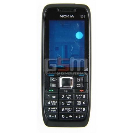 Корпус для Nokia E51, копия AAA, черный, с клавиатурой