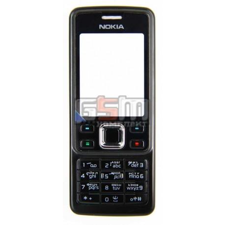 Корпус для Nokia 6300, черный, копия ААА, с клавиатурой, с орнаментом
