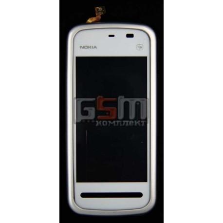 Тачскрин (сенсорный экран) для Nokia 5228, 5230, 5233, 5235, с передней панелью, копия, белый
