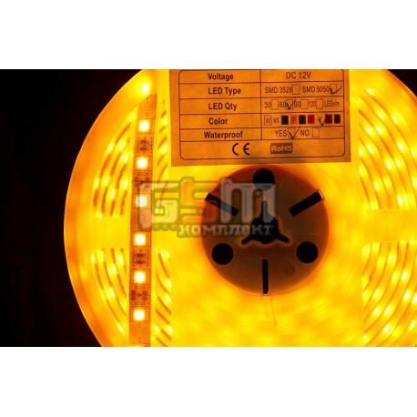 Светодиодная лента LED-Y-SMD-5050, 60 шт/м, водонепроницаемая IP67 в силиконовой трубке, 12V цвет свечения жёлтый (Цена указана
