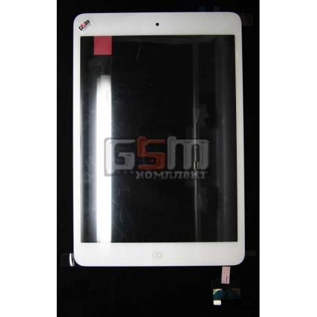 Тачскрин (сенсорный экран) для Apple iPad Mini, с защитным стеклом,с МИКРОСХЕМОЙ белый