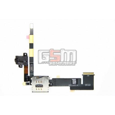 Шлейф для Apple iPad 2, коннектора наушников, сим коннектора, с компонентами, (версия 3G)