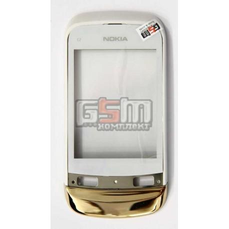 Тачскрин, сенсор, переднее стекло для Nokia C2-02, C2-03, C2-06, C2-07, C2-08, с передней панелью, копия, белый